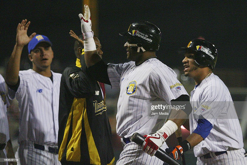Robert Perez of Venezuela celebrates with his teammates during the Caribbean Series Baseball 2013 in Sonora Stadium on February 2, 2013 in Hermosillo, Mexico.