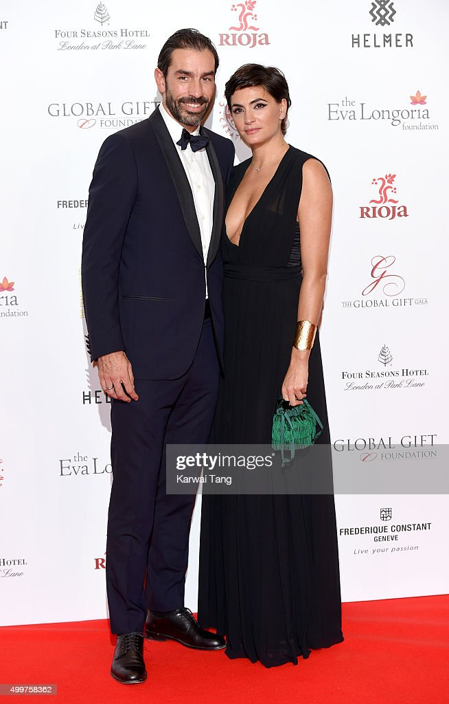 Robert Pires and Jessica Lemarie attend The Global Gift Gala at Four Seasons Hotel on November 30, 2015 in London, England.