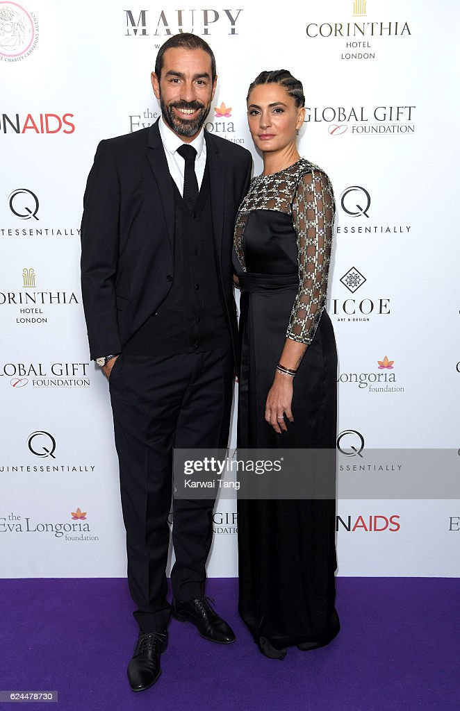 Robert Pires and Jessica Lemarie attend the Global Gift Gala in partnership with Quintessentially on November 19, 2016 at the Corithinia Hotel in London, United Kingdom.