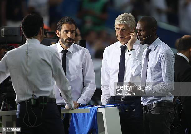 Robert Pires Arsene Wenger Eric Abidal comment for beIN Sport the UEFA Euro 2016 semifinal match between Germany and France at Stade Velodrome on...