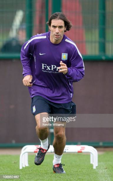 Robert Pires attends a training session as he signs for Aston Villa at Bodymoor Heath training ground on November 18 2010 in Birmingham England