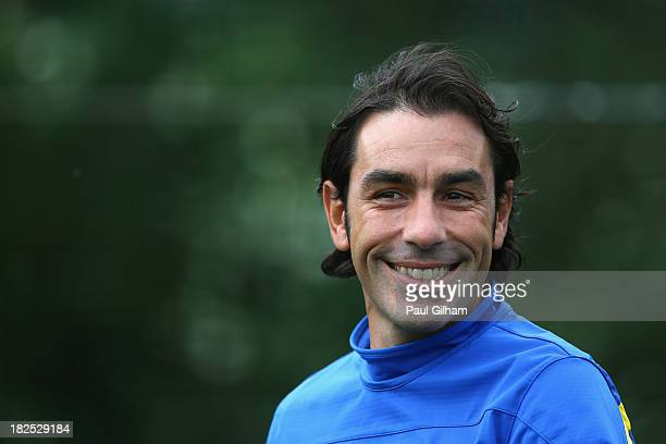 Robert Pires looks on during an Arsenal training session ahead of their Champions League Group F match against Napoli at London Colney on September...