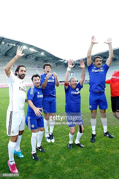 Robert Pires Michael Youn Patrick Bruel creator of the association JeanClaude Darmon and Pascal Elbe attend the Football match for the benefit of the...