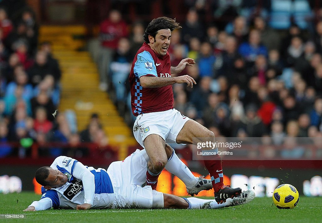 Robert Pires of Aston Villa battles for the ball with Jermaine Jones of Blackburn Rovers during the Barclays Premier League match between Aston Villa and Blackburn Rovers at Villa Park on February 26, 2011 in Birmingham, England.