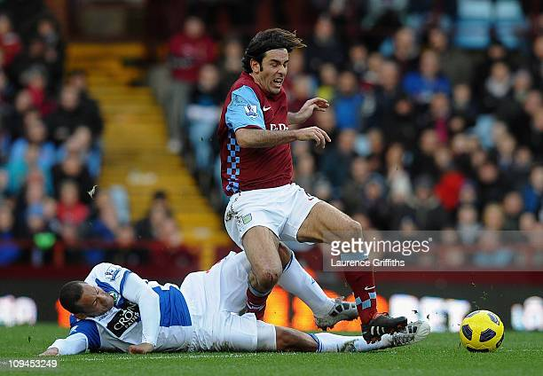 Robert Pires of Aston Villa battles for the ball with Jermaine Jones of Blackburn Rovers during the Barclays Premier League match between Aston Villa...