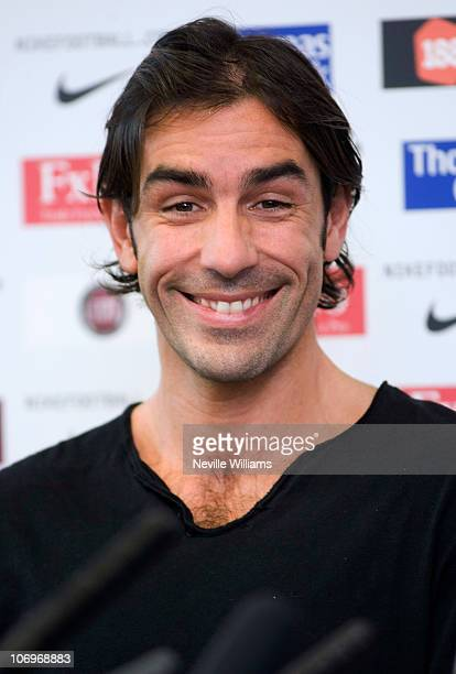 Robert Pires of Aston Villa speaks to the media during a press conference at Aston Villa's Bodymoor Heath training ground on November 19 2010 in...