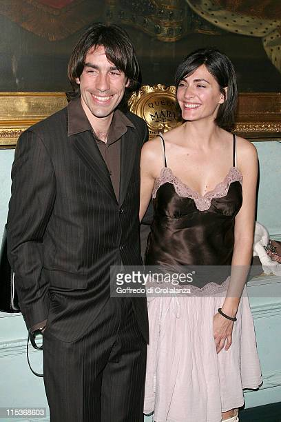 Robert Pires with his wife during The Renault French Film Season 2005 Press Launch at Institute of Directors in London Great Britain