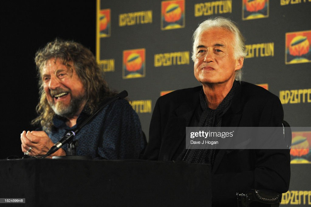 Robert Plant and Jimmy Page attend a press conference to announce Led Zeppelin's new live DVD Celebration day at 8 Northumberland Avenue on September 21, 2012 in London, England.