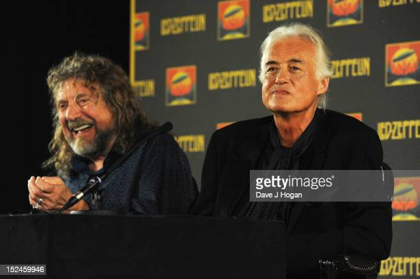 Robert Plant and Jimmy Page attend a press conference to announce Led Zeppelin's new live DVD Celebration day at 8 Northumberland Avenue on September...