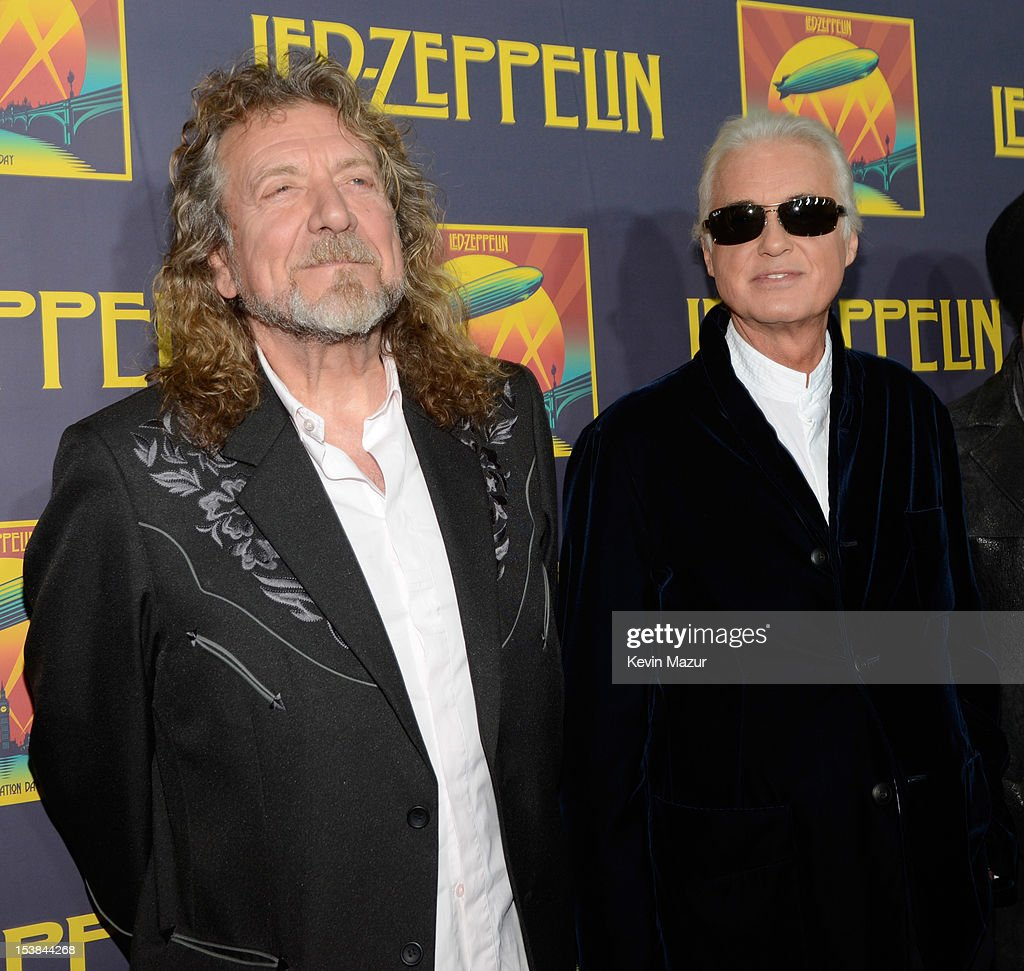 <a gi-track='captionPersonalityLinkClicked' href=/galleries/search?phrase=Robert+Plant&family=editorial&specificpeople=211368 ng-click='$event.stopPropagation()'>Robert Plant</a> and <a gi-track='captionPersonalityLinkClicked' href=/galleries/search?phrase=Jimmy+Page&family=editorial&specificpeople=208663 ng-click='$event.stopPropagation()'>Jimmy Page</a> attend the premiere of 'Led Zeppelin: Celebration Day' at Ziegfeld Theatre on October 9, 2012 in New York City. Led Zeppelin's John Paul Jones, <a gi-track='captionPersonalityLinkClicked' href=/galleries/search?phrase=Jimmy+Page&family=editorial&specificpeople=208663 ng-click='$event.stopPropagation()'>Jimmy Page</a>, and <a gi-track='captionPersonalityLinkClicked' href=/galleries/search?phrase=Robert+Plant&family=editorial&specificpeople=211368 ng-click='$event.stopPropagation()'>Robert Plant</a> along with Jason Bonham attend premiere of Celebration Day at Ziegfeld Theatre in New York. Celebration Day captures their 2007 tribute concert for Atlantic Records Founder Ahmet Ertegun at London's O2 Arena. Film will be released worldwide on October 17, 2012 by Omniverse Vision on 1,500 screens in over 40 territories, it will then be available in multiple video and audio formats on November 19, 2012.