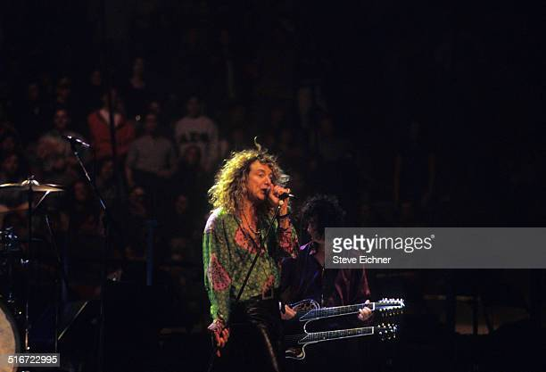 Robert Plant and Jimmy Page of Led Zeppelin performs at Meadowlands New York April 7 1995