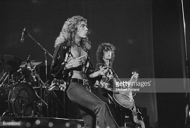 Robert Plant and Jimmy Page performing with British heavy rock group Led Zeppelin at Earl's Court London May 1975 The band were initially booked to...