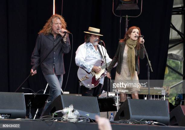Robert Plant and singer Patty Griffin the Band of Joy perform on stage during the Big Chill Festival 2011 at Eastnor Castle Deer Park in Herefordshire