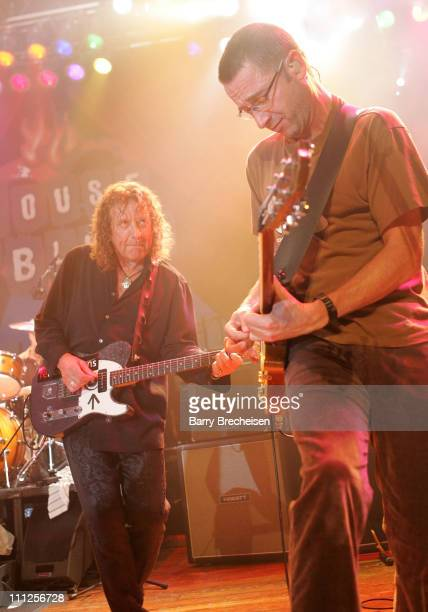 Robert Plant and Stone Gossard of Pearl Jam during A Benefit for Hurricane Katrina Survivors with Pearl Jam and Robert Plant at House of Blues in...