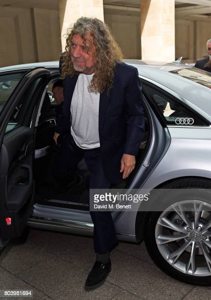 Robert Plant arrives in an Audi at the Nordoff Robbins at Grosvenor House Hotel on June 30 2017 in London United Kingdom