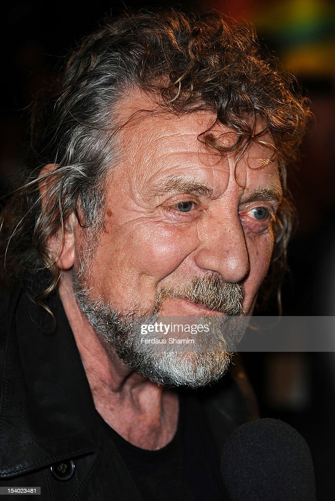 Robert Plant from Led Zeppelin attends the UK Premiere of 'Led Zeppelin Celebration Day' at Hammersmith Apollo on October 12 2012 in London England