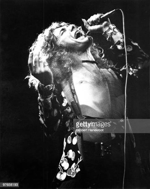 Robert Plant from Led Zeppelin performs live on stage in Germany in March 1973
