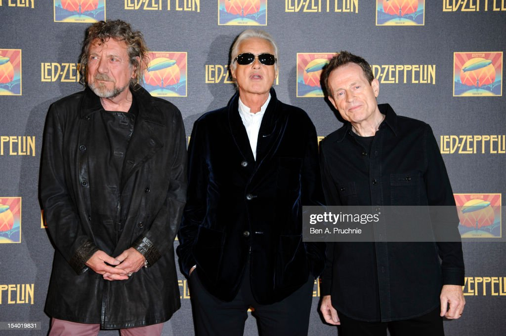 Robert Plant Jimmy Page and John Paul Jones attend the UK Premiere of 'Led Zeppelin Celebration Day'>> at Hammersmith Apollo on October 12 2012 in...