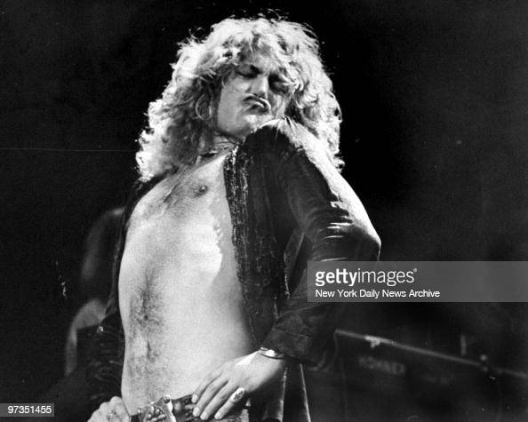 Robert Plant lead singer of Led Zeppelin during concert at Madison Square Garden