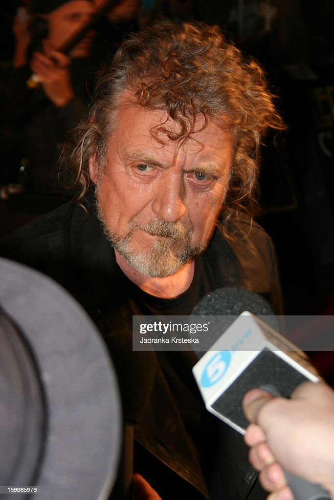 Robert Plant of Led Zeppelin is interviewed as he attends the UK Premiere of 'Led Zeppelin Celebration Day' at Hammersmith Apollo on October 12 2012...