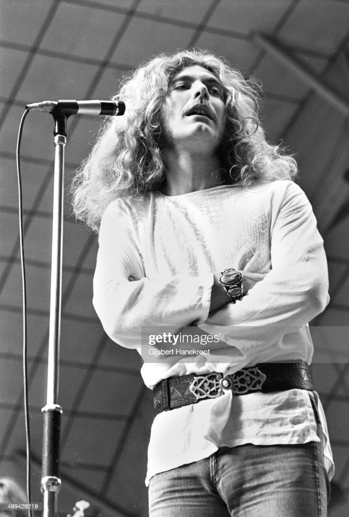 Robert Plant of Led Zeppelin on stage during a soundcheck at Oude Rai on 27th May 1972 in Amsterdam Netherlands
