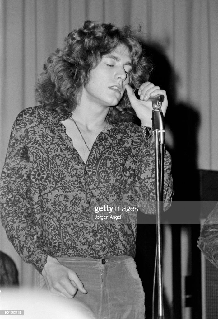 Robert Plant of Led Zeppelin performs on stage at Gladsaxe Teen Club on March 17th 1969 in Copenhagen Denmark