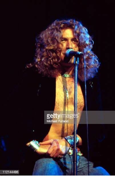 Robert Plant of Led Zeppelin performs on stage at Madison Square Garden New York June 1975