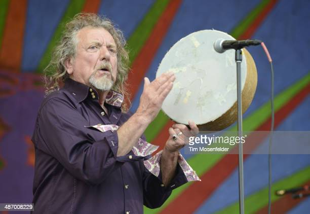 Robert Plant of Robert Plant and the Sensational Space Shifters performs during the 2014 New Orleans Jazz Heritage Festival Day 2 at Fair Grounds...