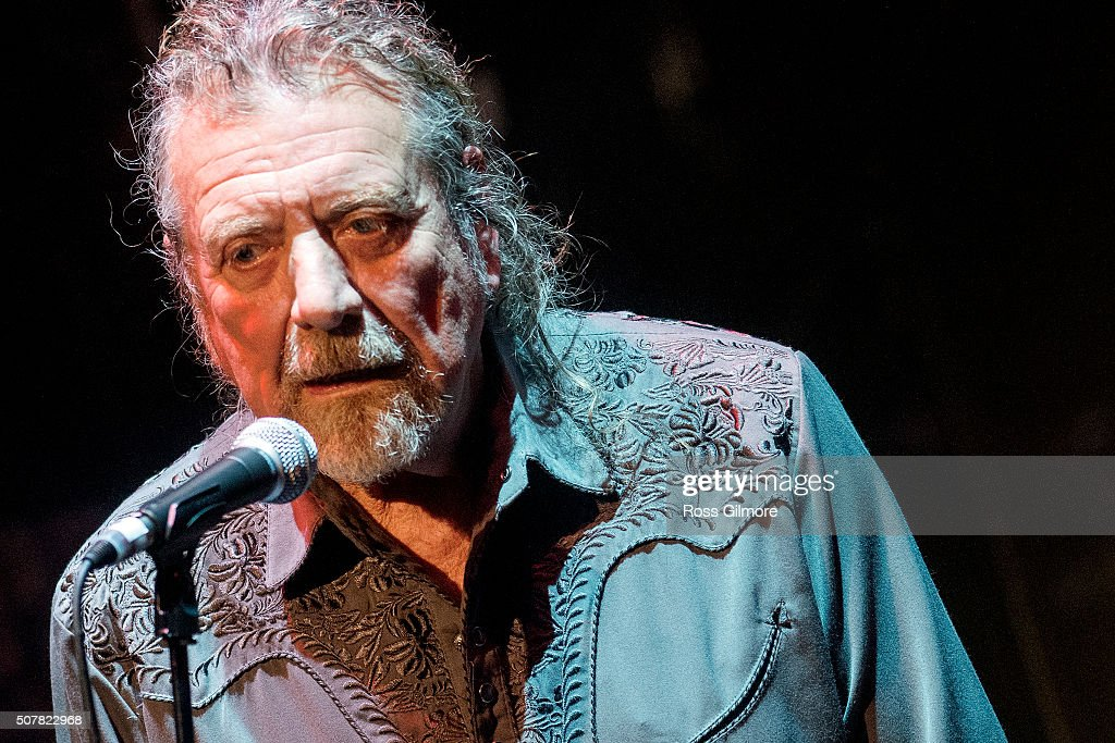 Robert Plant performs at a concert for Bert Jansch at the Celtic Connections Festival at The Old Fruit Market on January 31, 2016 in Glasgow, Scotland.