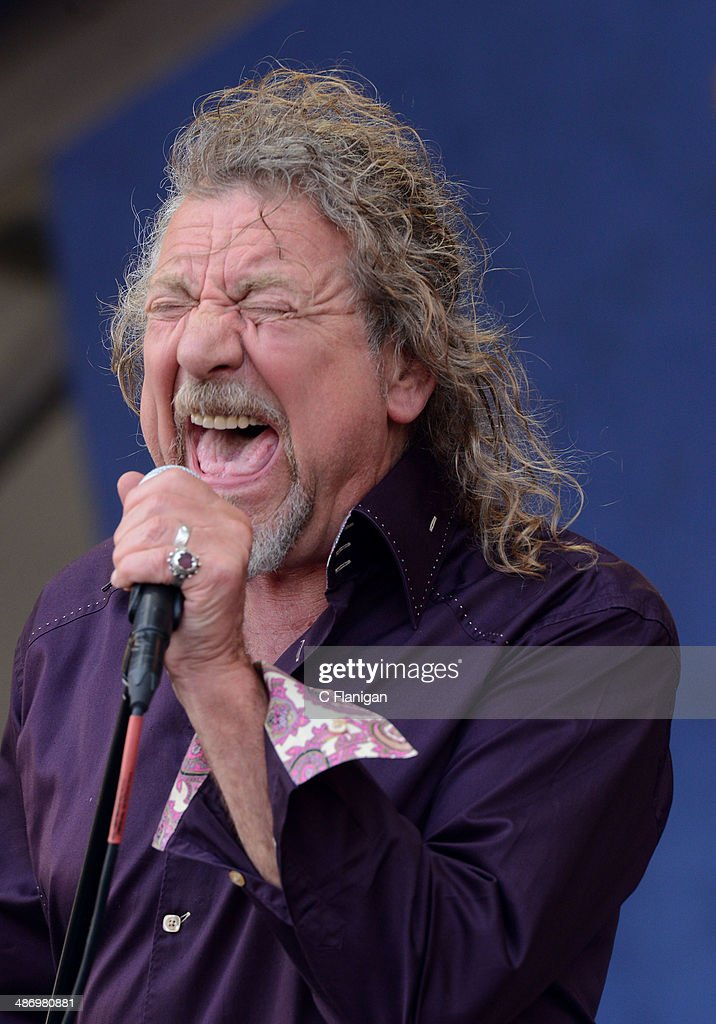 Robert Plant performs during the 2014 New Orleans Jazz Heritage Festival at Fair Grounds Race Course on April 26 2014 in New Orleans Louisiana