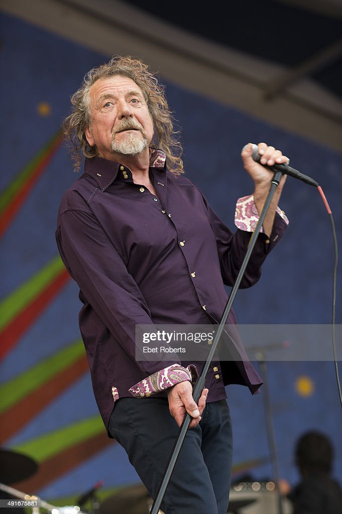 Robert Plant performs on stage at Fair Grounds Race Course at New Orleans Jazz And Heritage Festival on April 26 2014 in New Orleans Louisiana