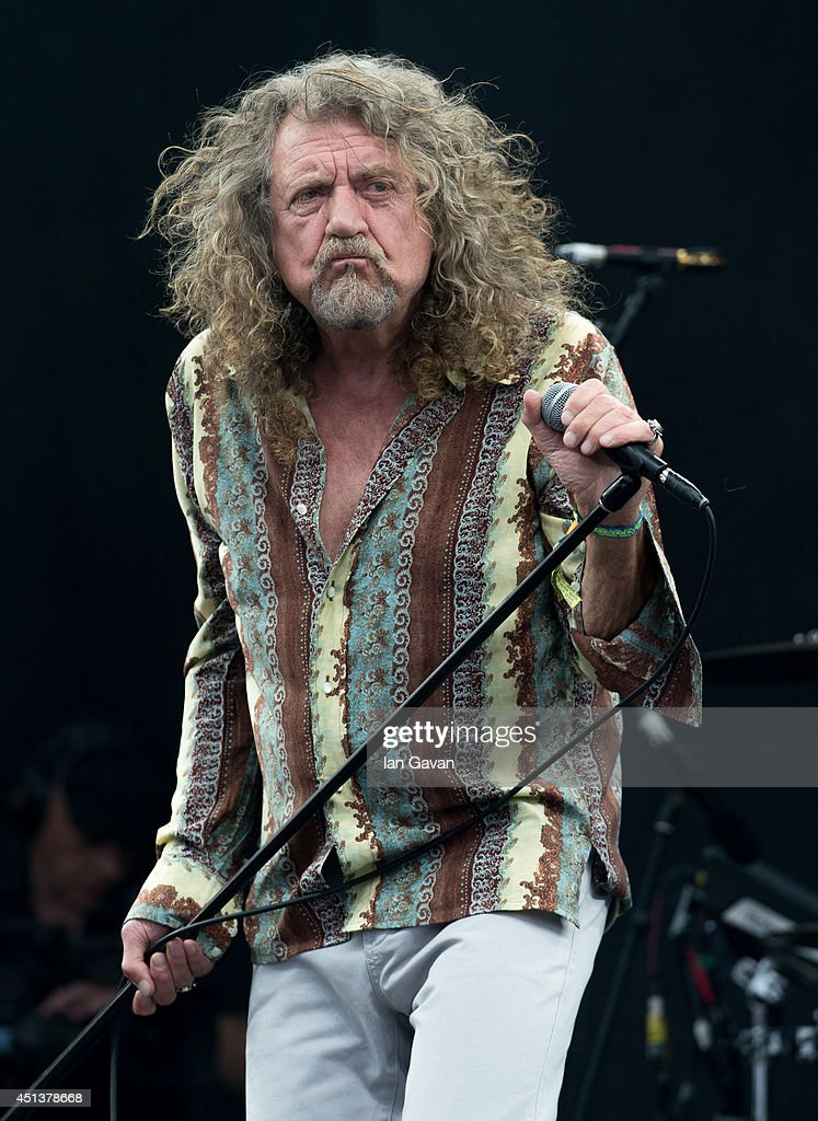 Robert Plant performs on the Pyramid Stage during day 2 of the Glastonbury Festival at Worthy Farm on June 28 2014 in Glastonbury England