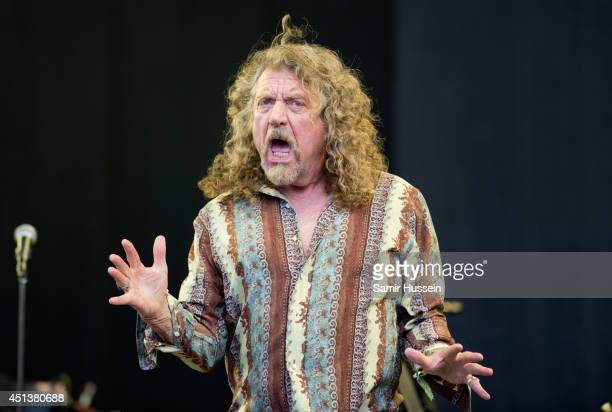 Robert Plant performs on the Pyramid Stage on Day 2 of the Glastonbury Festival at Worthy Farm on June 28 2014 in Glastonbury England