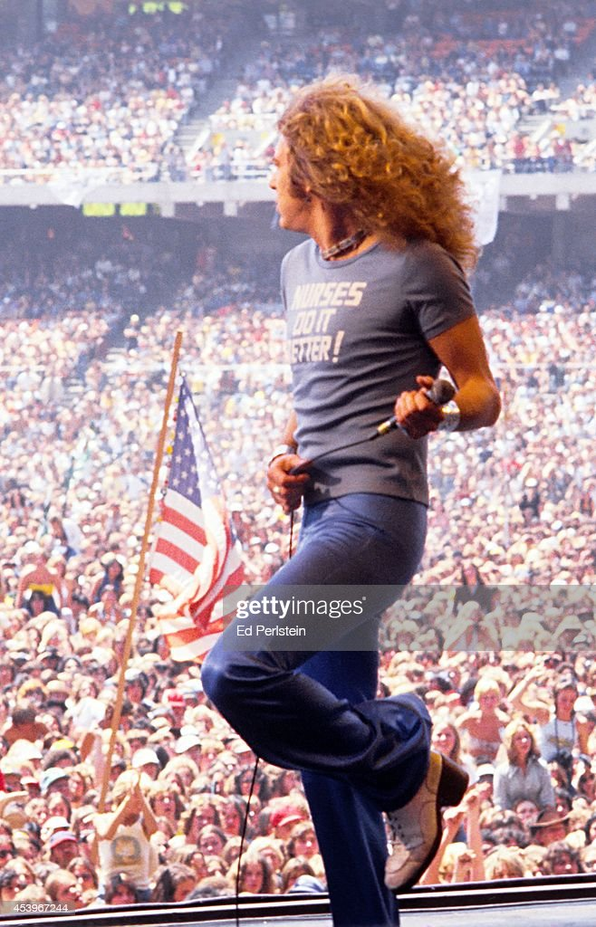 Robert Plant performs with Led Zeppelin at the Oakland Stadium on July 23 1977 in Oakland California