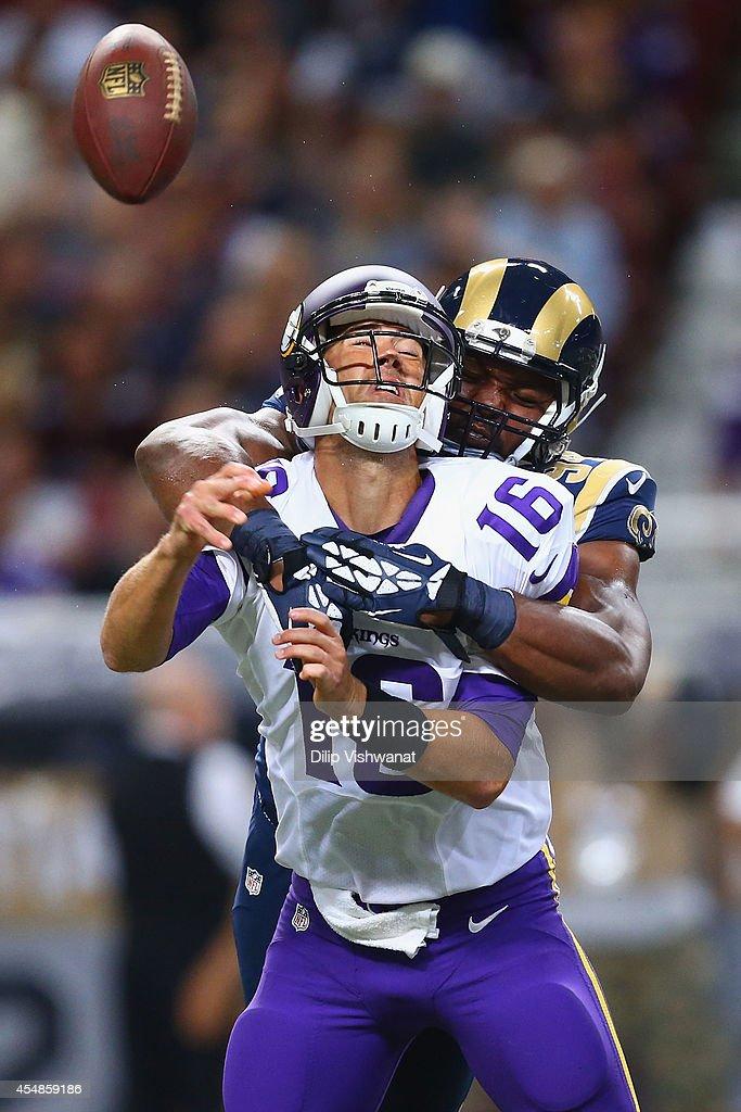 Robert Quinn #94 of the St. Louis Rams sacks Matt Cassel #16 of the Minnesota Vikings at the Edward Jones Dome on September 7, 2014 in St. Louis, Missouri.