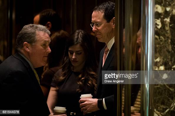 Robert Quinn senior vice president at ATT and ATT Chief Executive Officer Randall Stephenson arrive at Trump Tower January 12 2017 in New York City...