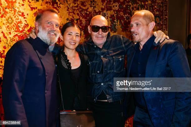 Robert RabensteinerAyako Yoshida Photographer Michel Comte and Gery Keszler attend the Life Ball 2017 reception at Palais Szechenyi on June 9 2017 in...