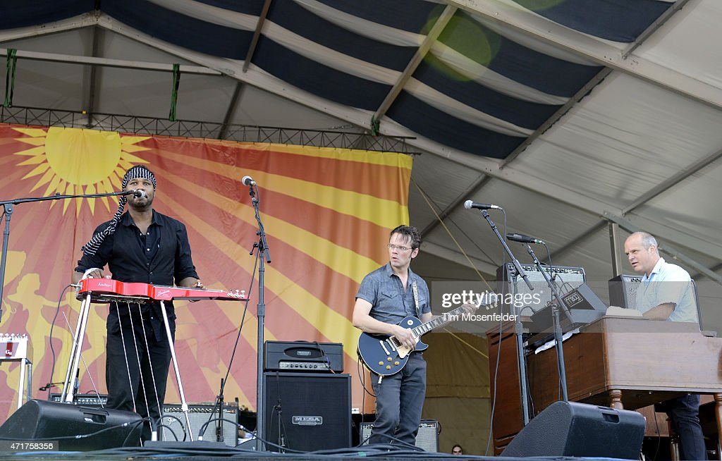 Robert Randolph Luther Dickinson and John Medeski of The Word perform during the 2015 New Orleans Jazz Heritage Festival at Fair Grounds Race Course...