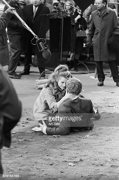 Robert Redford and Jane Fonda filming a movie in Washington Square Park circa 1970 New York