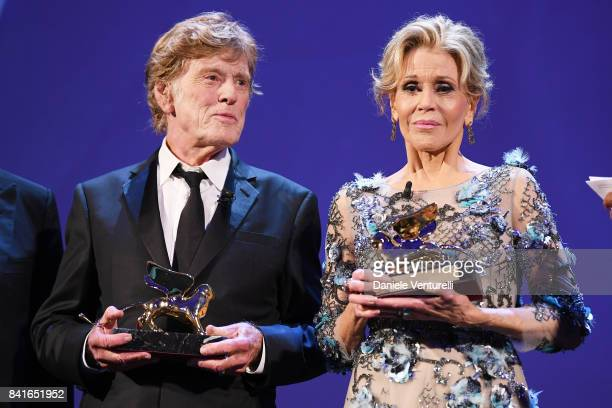 Robert Redford and Jane Fonda receive a Golden Lion For Lifetime Achievement Award during the 74th Venice Film Festival on September 1 2017 in Venice...