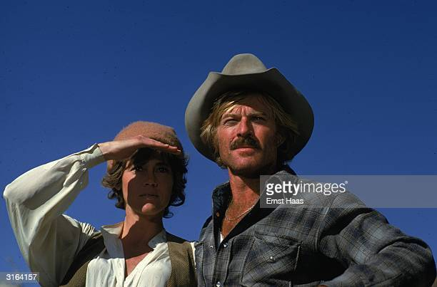 Robert Redford and Jane Fonda squint into the Utah sun on the set of 'The Electric Horseman' a western romance directed by Sydney Pollack