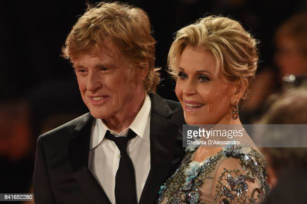 Robert Redford and Jane Fonda walk the red carpet ahead of the 'Our Souls At Night' screening during the 74th Venice Film Festival at Sala Grande on...