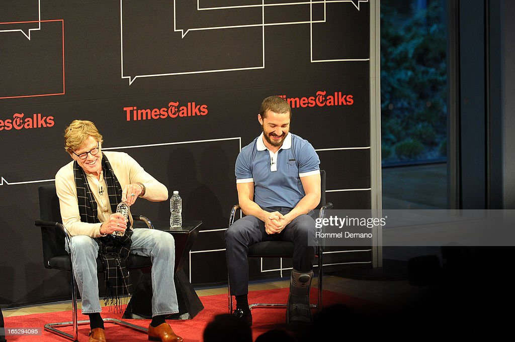 <a gi-track='captionPersonalityLinkClicked' href=/galleries/search?phrase=Robert+Redford&family=editorial&specificpeople=202897 ng-click='$event.stopPropagation()'>Robert Redford</a> and Shia LaBeouf attend TimesTalks Presents: 'The Company You Keep' at TheTimesCenter on April 2, 2013 in New York City.
