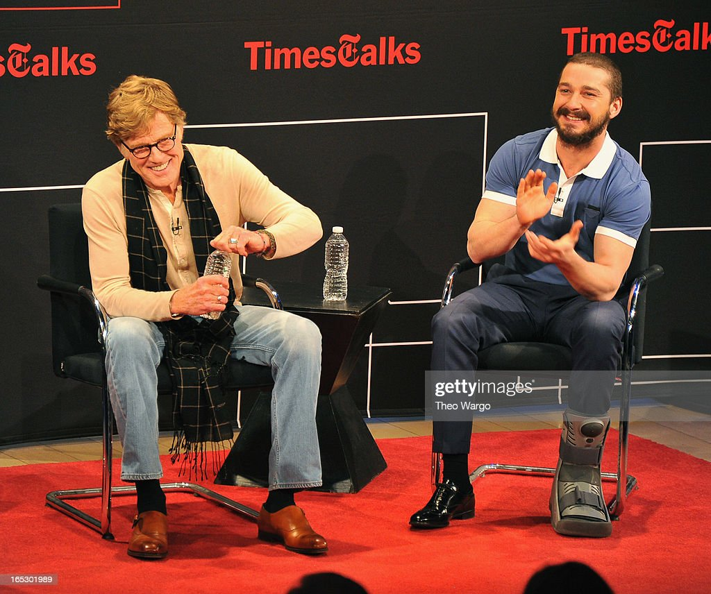 Robert Redford and Shia LaBeouf attend TimesTalks Presents: 'The Company You Keep' at TheTimesCenter on April 2, 2013 in New York City.