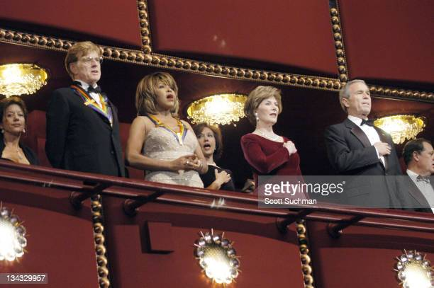 Robert Redford and Tina Turner honorees with Laura Bush and President George W Bush
