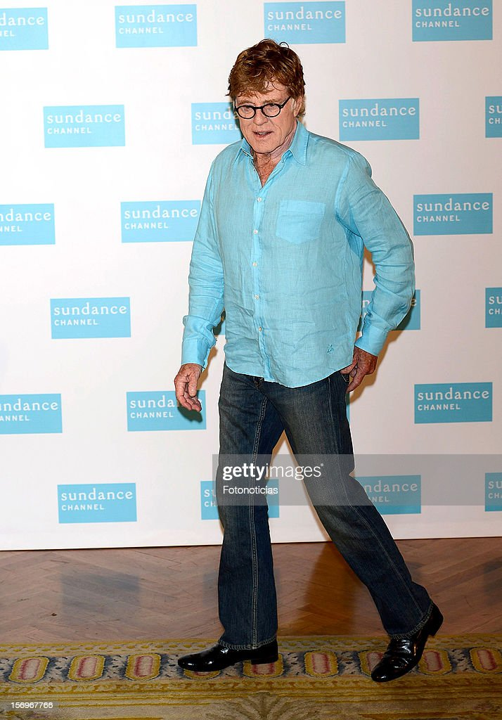 <a gi-track='captionPersonalityLinkClicked' href=/galleries/search?phrase=Robert+Redford&family=editorial&specificpeople=202897 ng-click='$event.stopPropagation()'>Robert Redford</a> attends a photocall for Sundance Channel at The Ritz Hotel on November 26, 2012 in Madrid, Spain.