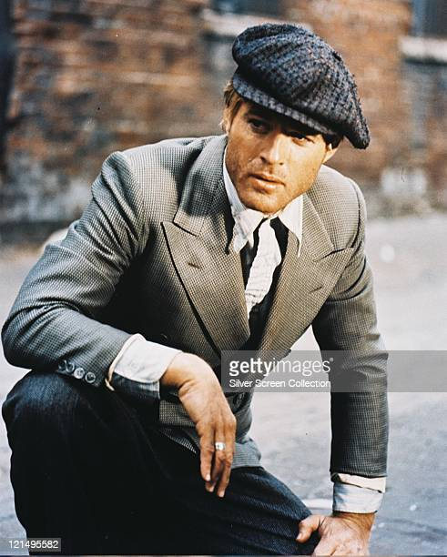 Robert Redford US actor unshaven and wearing a grey jacket and a large flat cap in a publicity still issued for the film 'The Sting' 1973 The crime...