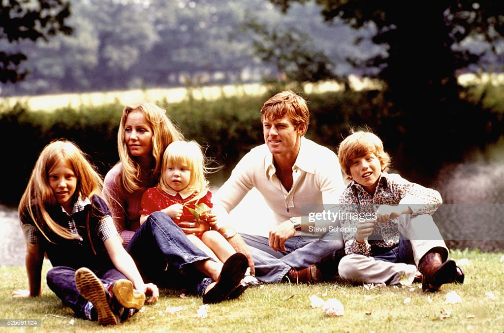 Robert Redford with his family on the set of The Great Gatsby including Lola Von Wagenan and children Shauna Amy and David