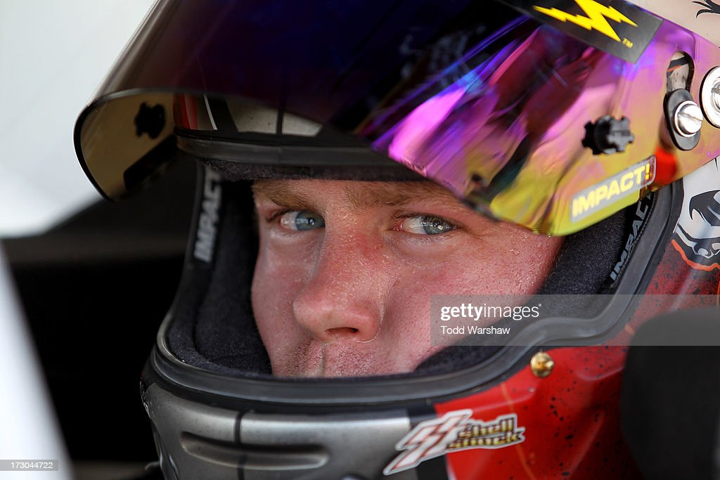Robert Richardson Jr., driver of the #23 North Texas Pipe Chevrolet, sit sin his car during qualifying for the NASCAR Nationwide Series Subway Firecracker 250 at Daytona International Speedway on July 5, 2013 in Daytona Beach, Florida.