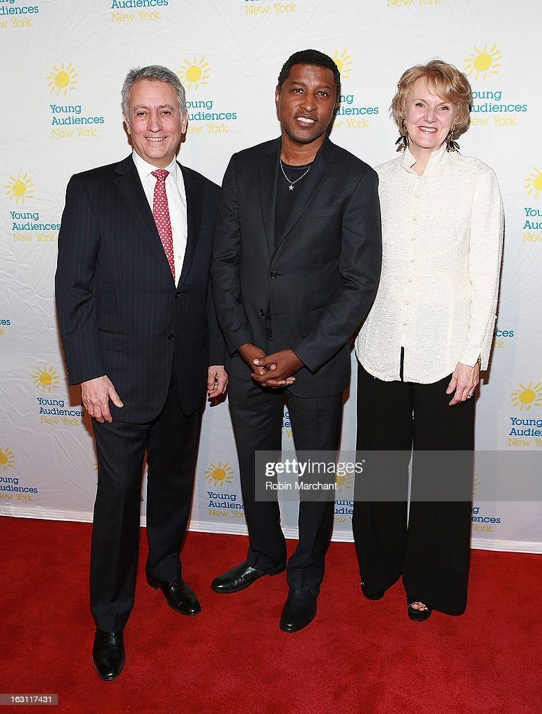 Robert Riesemberg, Kenneth '<a gi-track='captionPersonalityLinkClicked' href=/galleries/search?phrase=Babyface&family=editorial&specificpeople=227435 ng-click='$event.stopPropagation()'>Babyface</a>' Edmonds and Kim Greenberg attend the 2013 Children's Arts Award Benefit at Cipriani Wall Street on March 4, 2013 in New York City.